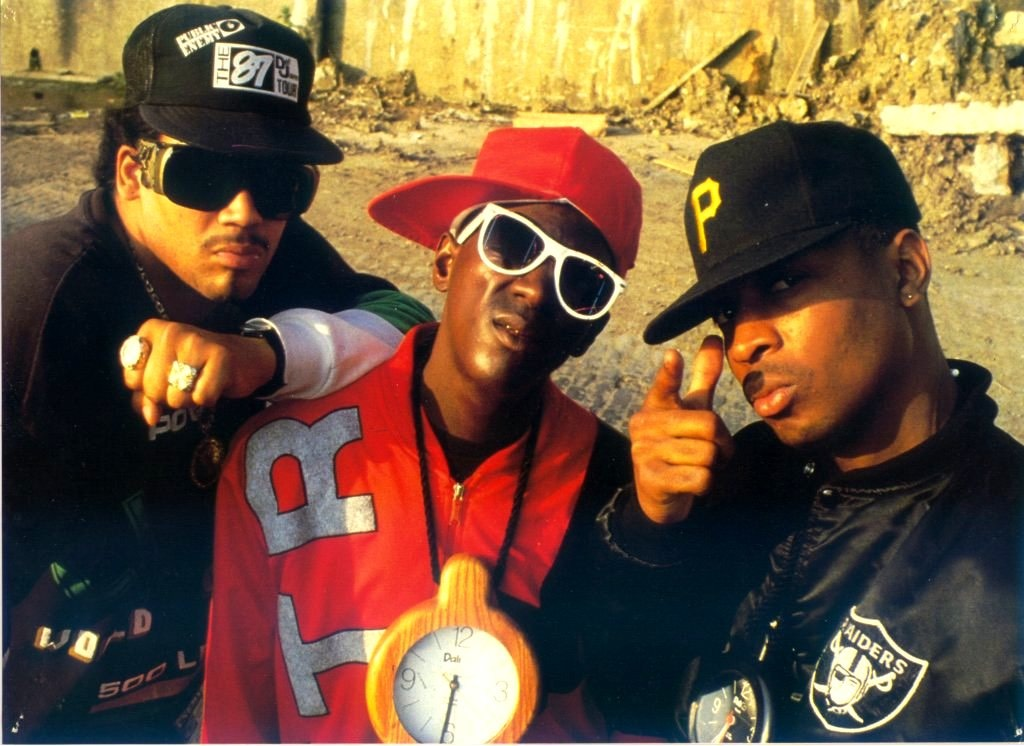 picture of the Terminator X, Flavor Flav and Chuck D from Public Enemy, circa 1988